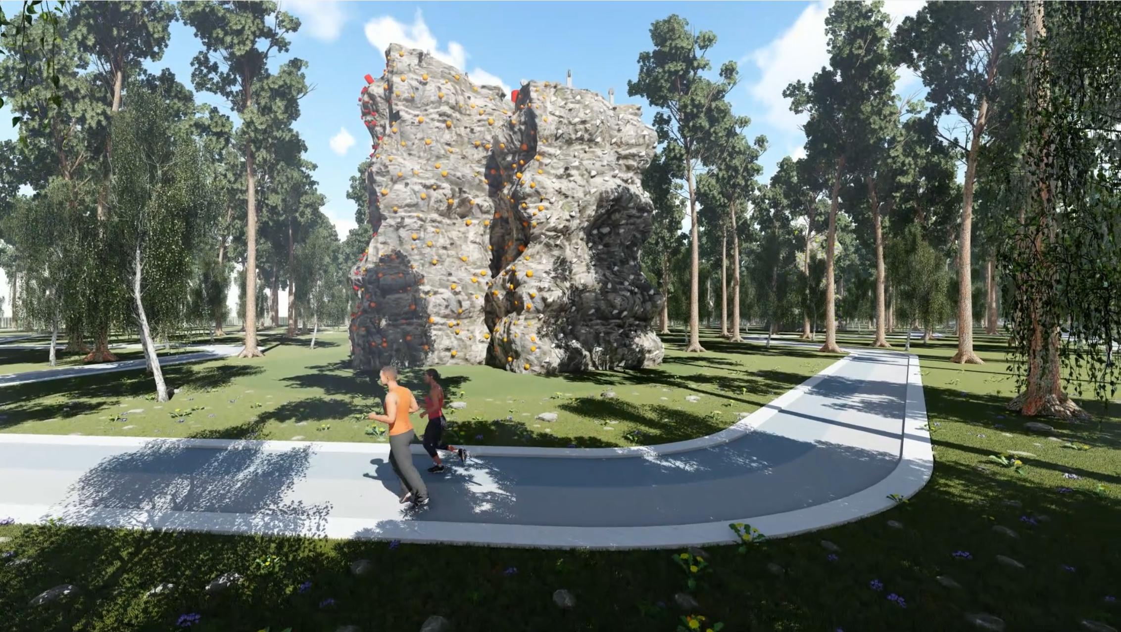 Один из самых интересных объектов в проекте — это скалодром, но как раз его строительство пока под вопросом