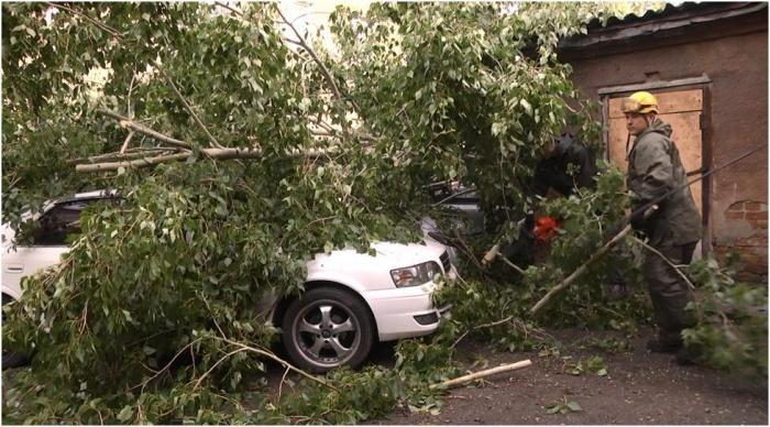 Городские службы убирают последствия урагана в Кемерово (фото)