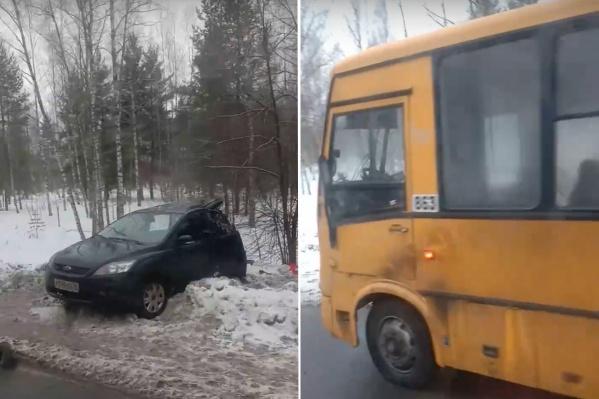 При столкновении автобуса и легковушки пострадали три человека