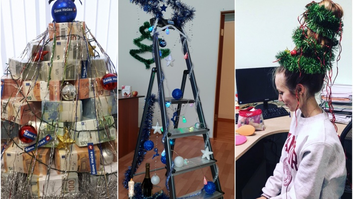 Из волос, из пачек денег и из стремянки: вторая подборка необычных офисных ёлок Екатеринбурга
