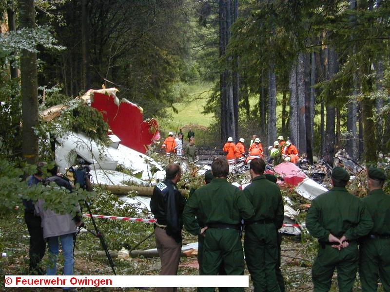 На месте падения самолетов работали пожарные Овингена — городка к северу от Иберлингена
