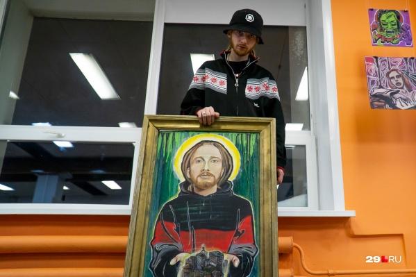 Помимо рисования на стенах, Андрей Кипрей занимается и другим творчеством — например, к одной из выставок он создал портреты своих близких. На фото — автопортрет из той серии