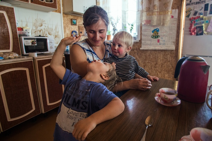 Многодетная семья в посёлке Ложок
