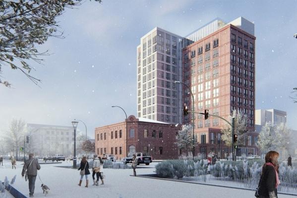Гостиница появится на огороженном участке на углу Красного проспекта и улицы Чаплыгина, который пустует уже много лет