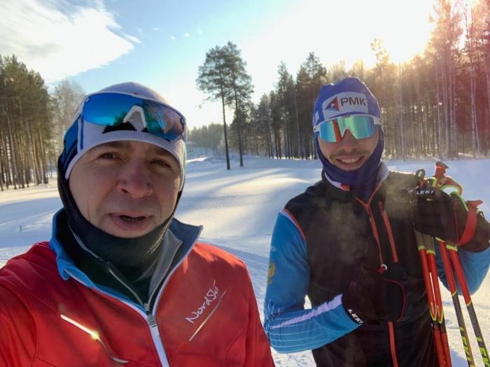 Губернатор и олимпийский чемпион провели совместную тренировку на лыжах