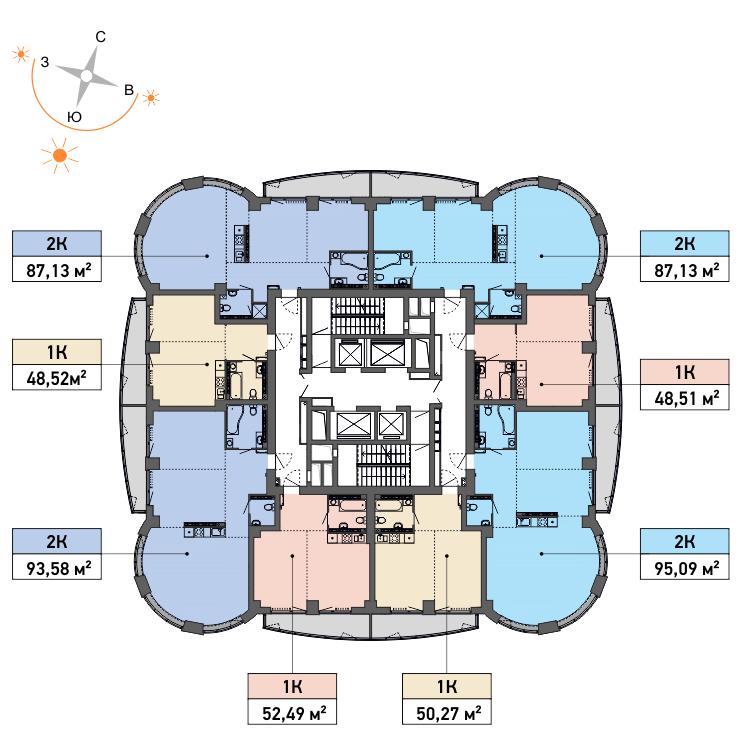 Типовой план 19-го и 20-го этажей. Квартиры со свободной планировкой