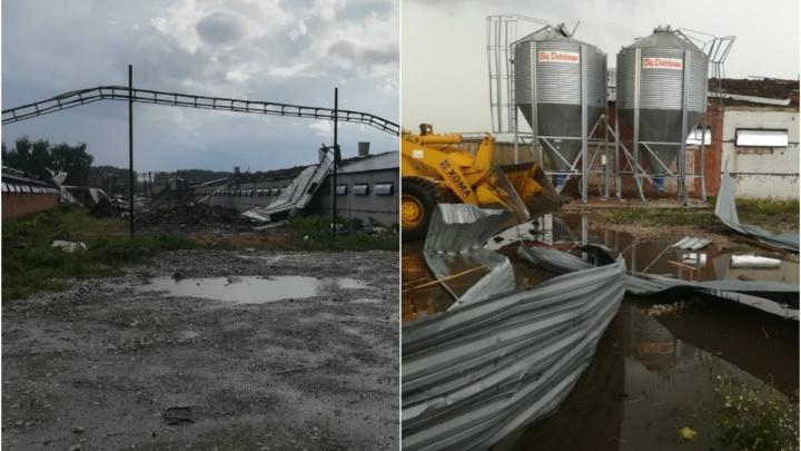 Ураган в Стерлитамаке сорвал крышу с птицефабрики