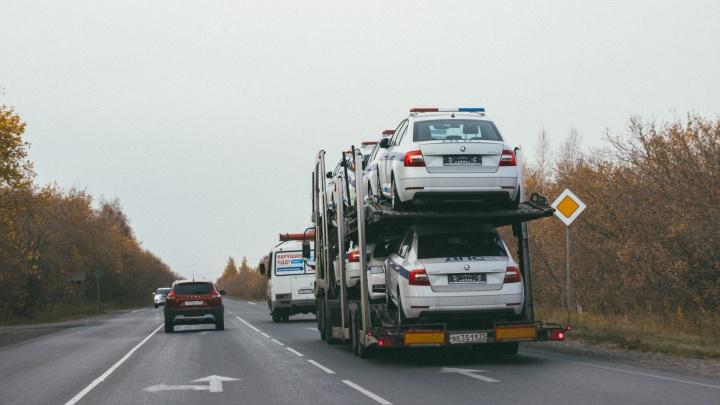 В Омск привезли больше 20 новых SKODA Octavia для полка ДПС