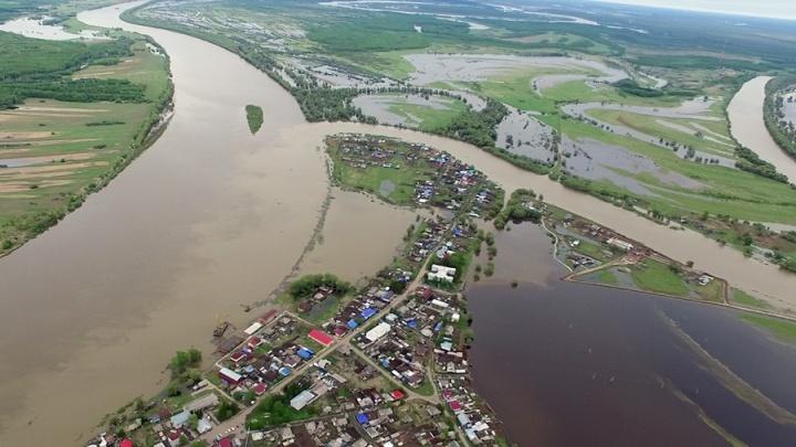 Спасатели сняли затопленную Омскую область с высоты птичьего полета