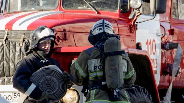 В строящемся доме в центре Перми произошел пожар