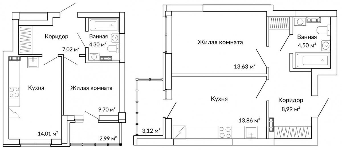 Варианты классической планировки однокомнатной квартиры