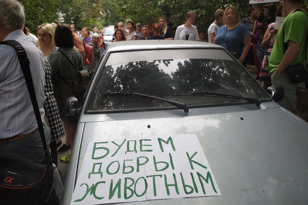 На пикет в отдалённый микрорайон Новосибирска некоторые приехали на машинах