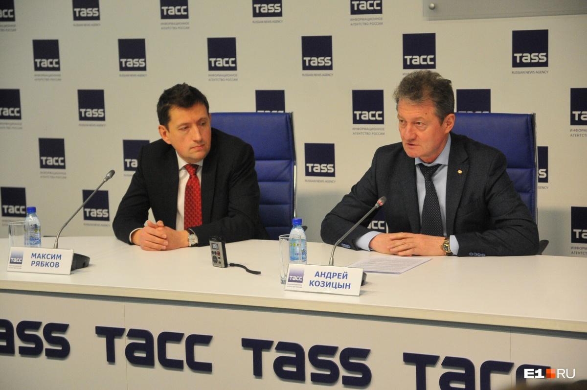 Руководитель «Автомобилиста» Максим Рябков и президент «Автомобилиста» Андрей Козицын