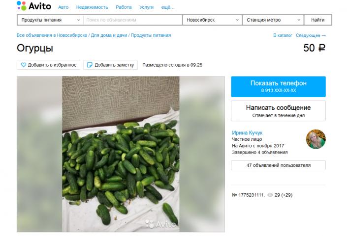 Новосибирцы продают свежие огурцы, а также предлагают закатать их в банки на зиму