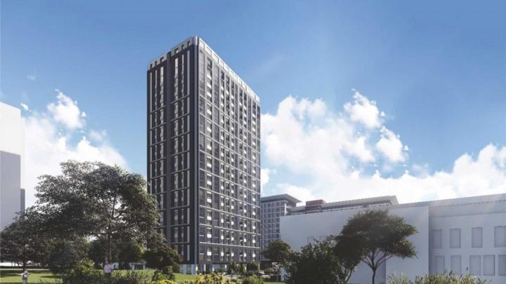 Рядом с Михайловской набережной строят 25-этажку с стильным остеклением и просторными квартирами с видом на реку