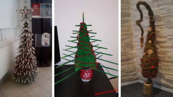 Из семечек, пожарных стволов и свечей зажигания: выбираем самую сумасшедшую офисную ёлку Екатеринбурга