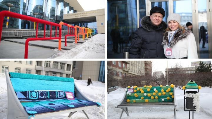 Новосибирские рукодельницы украсили филармонию вязаными одеждами (видео)