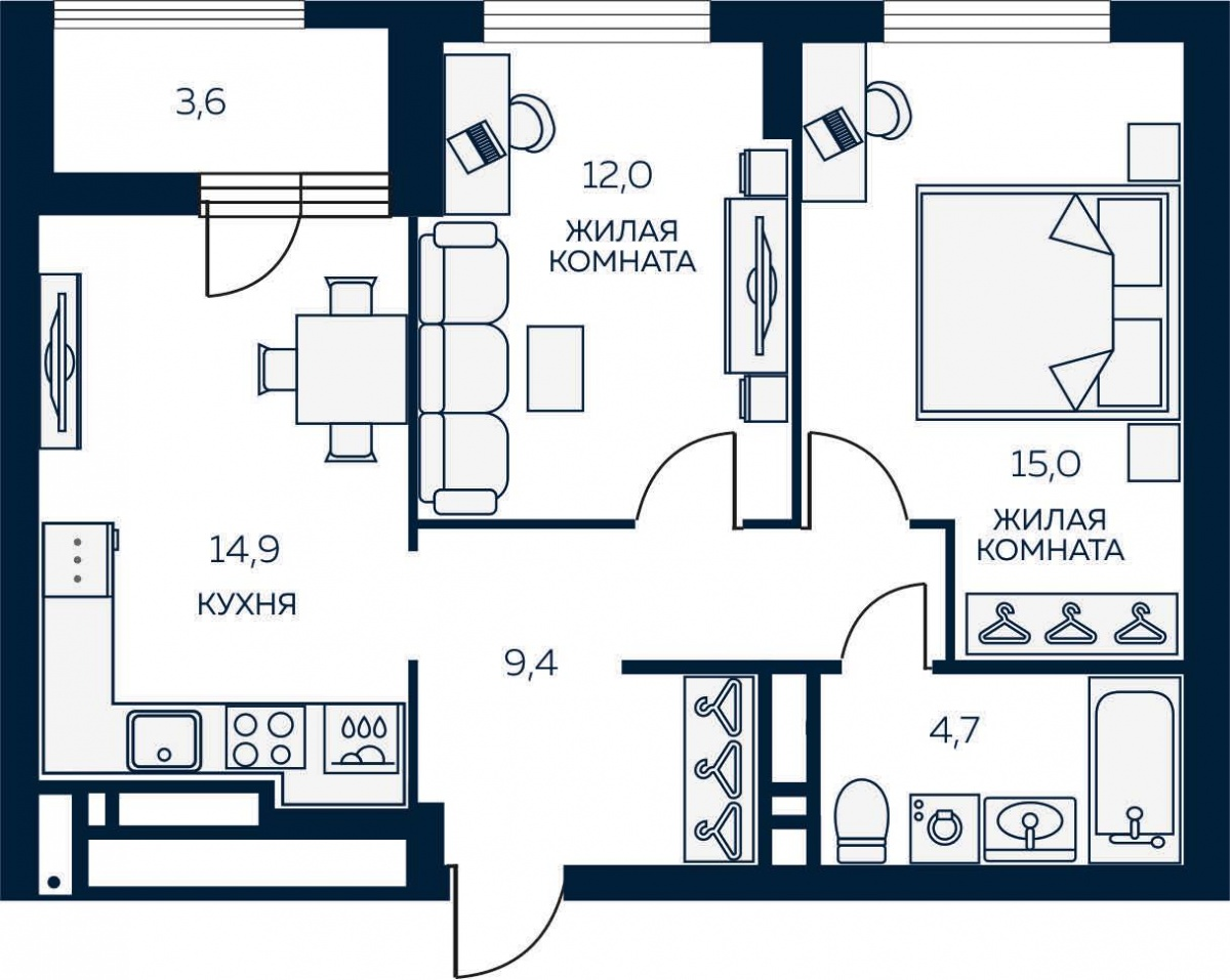 Классная планировка двухкомнатной квартиры с большой кухней и видом на Ботанический сад