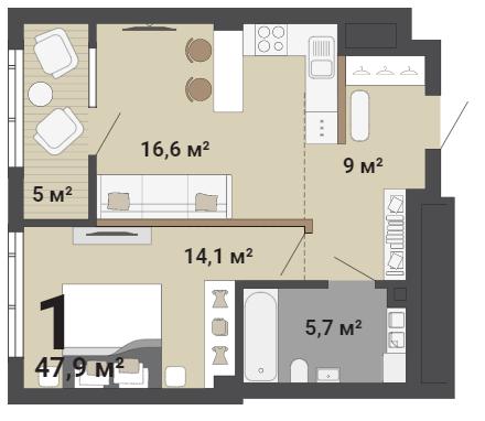 Популярностью пользуются однокомнатные квартиры с кухней-гостиной
