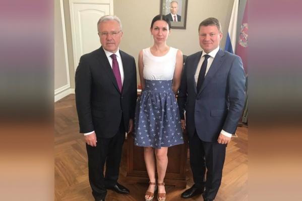 Ксения Бессонова с губернатором и мэром после прямой линии
