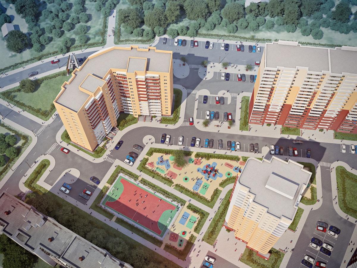 Проектом предусмотрено создание спортивного корта и просторной детской площадки на придомовой территории