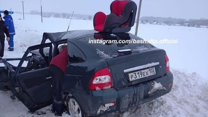 В Башкирии произошло крупное ДТП, очевидцы сообщают о пяти пострадавших — есть видео