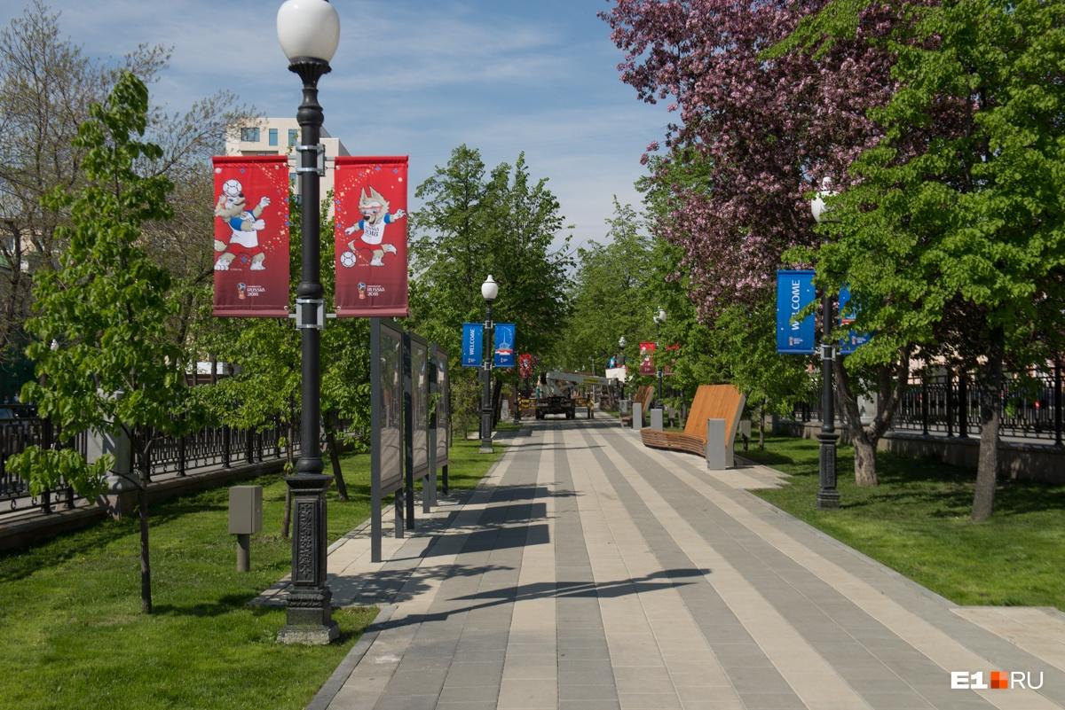 Аллею на проспекте Ленина украсили флагами
