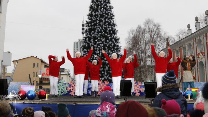 Снеговик, тигр и сказочные танцы: как в Архангельске прошло открытие первой новогодней ёлки