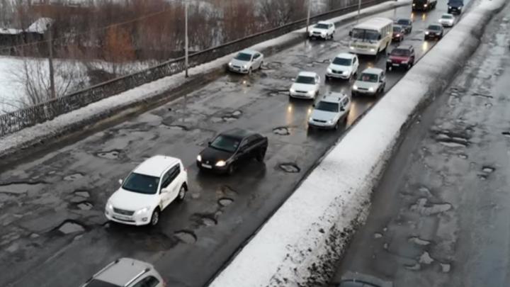 «Как после бомбёжки»: самарский блогер снял «убитый» путепровод в Кировском районе с высоты