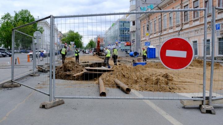 Перекрытие улицы Екатерининской в Перми продлили на два дня