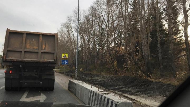 На Червишевском тракте начали строить дополнительную полосу для поворота в Комарово