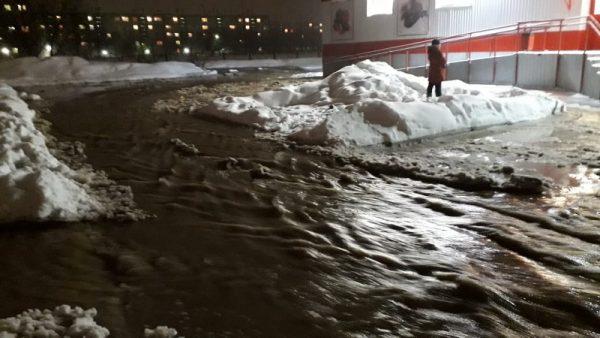 «Люди не могут выйти из магазина»: в Бердске водой затопило улицу (видео)