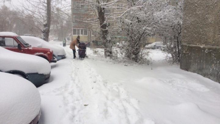Курган засыпает снегом — теперь по-настоящему