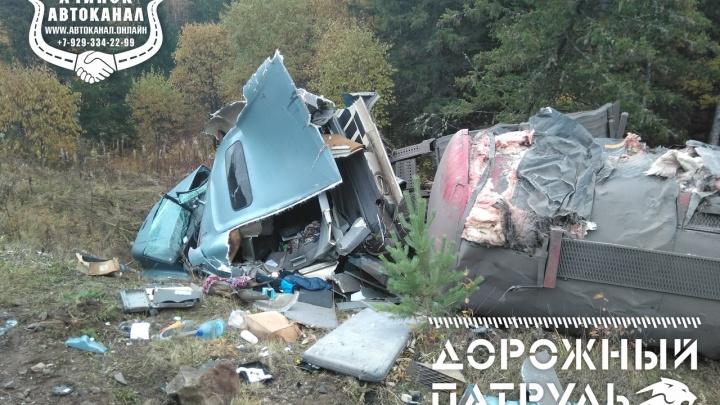 «Уснул за рулём»: водитель фуры с прицепом слетел с дороги и рухнул в кювет