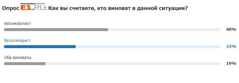 В голосовании на E1.RU большинство посчитали, что в ДТП виноват автомобилист