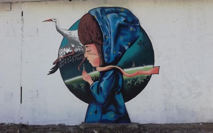 Граффити Юлии Прокуровой появились на стене тепловой станции в микрорайоне Березовом