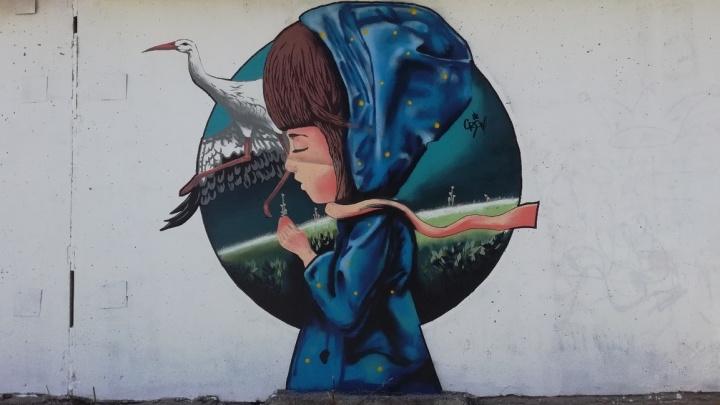 На стене в Первомайском районе появились трёхметровые граффити с девочкой и аистом