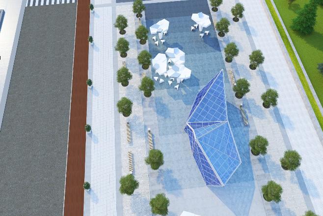 На площади у фонтана должны появиться оригинальные архитектурные формы