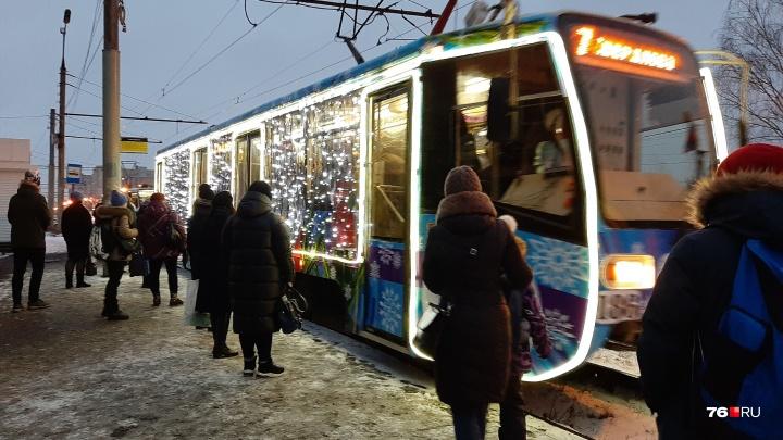 Иллюминация и веселые песни: в Ярославле в рейсы вышли два новогодних трамвая и троллейбус