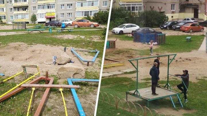 Таганрожец поставил в Вологодской области детскую площадку и снес ее через несколько дней