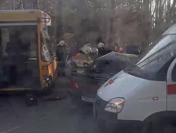 У автобуса от удара разбилось лобовое стекло