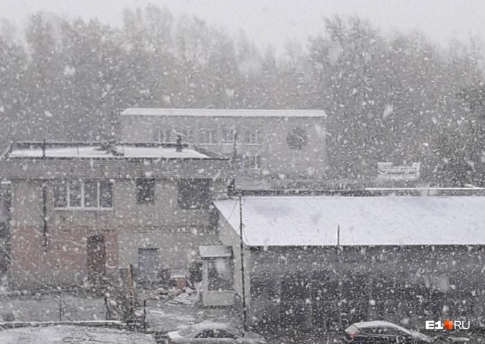Такой снегопад снял наш читатель Артем Белоусов в Невьянске