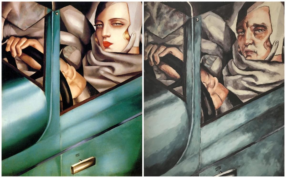 «Тамара в зелёном Бугатти» («Автопортрет») Тамары Лемпицки