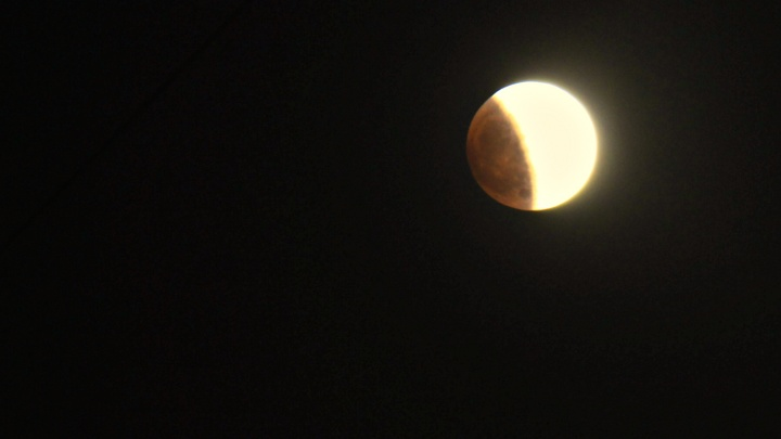 Фото: над Новосибирском пропадает Луна