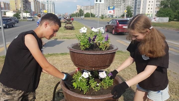 В Заозёрном высадили первую партию цветов вдоль проспекта Маршала Голикова