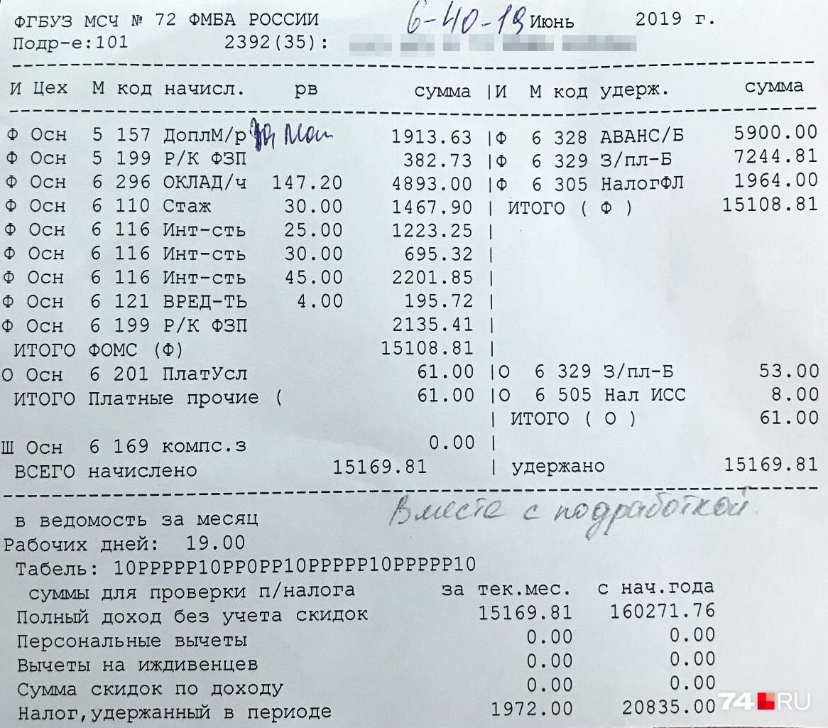 Такую зарплату за июнь получила одна из медсестёр — 30 тысяч в расчётке нет