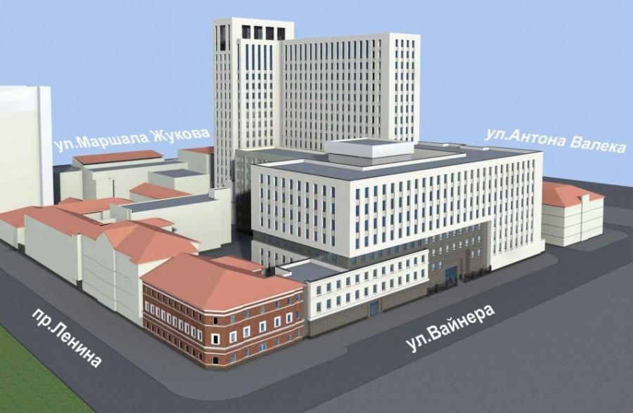 Здание расположитсяв границах Ленина — Вайнера — Антона Валека — Маршала Жукова