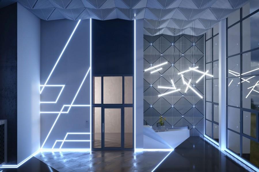 Парадный холл синего дома — это игра света, геометрических линий и холодных оттенков классического хай-тека