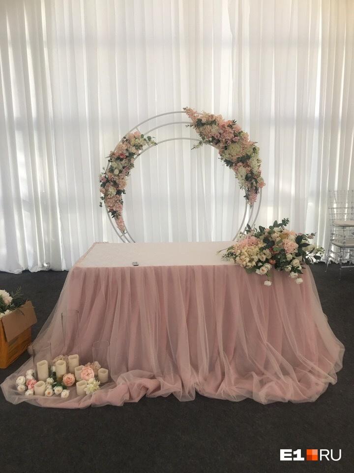 Стол во время оформления перед свадьбой. Двойной круг — 11 тысяч, цветы на столе — 3 тысячи, цветы и свечи на полу — 3,5 тысячи