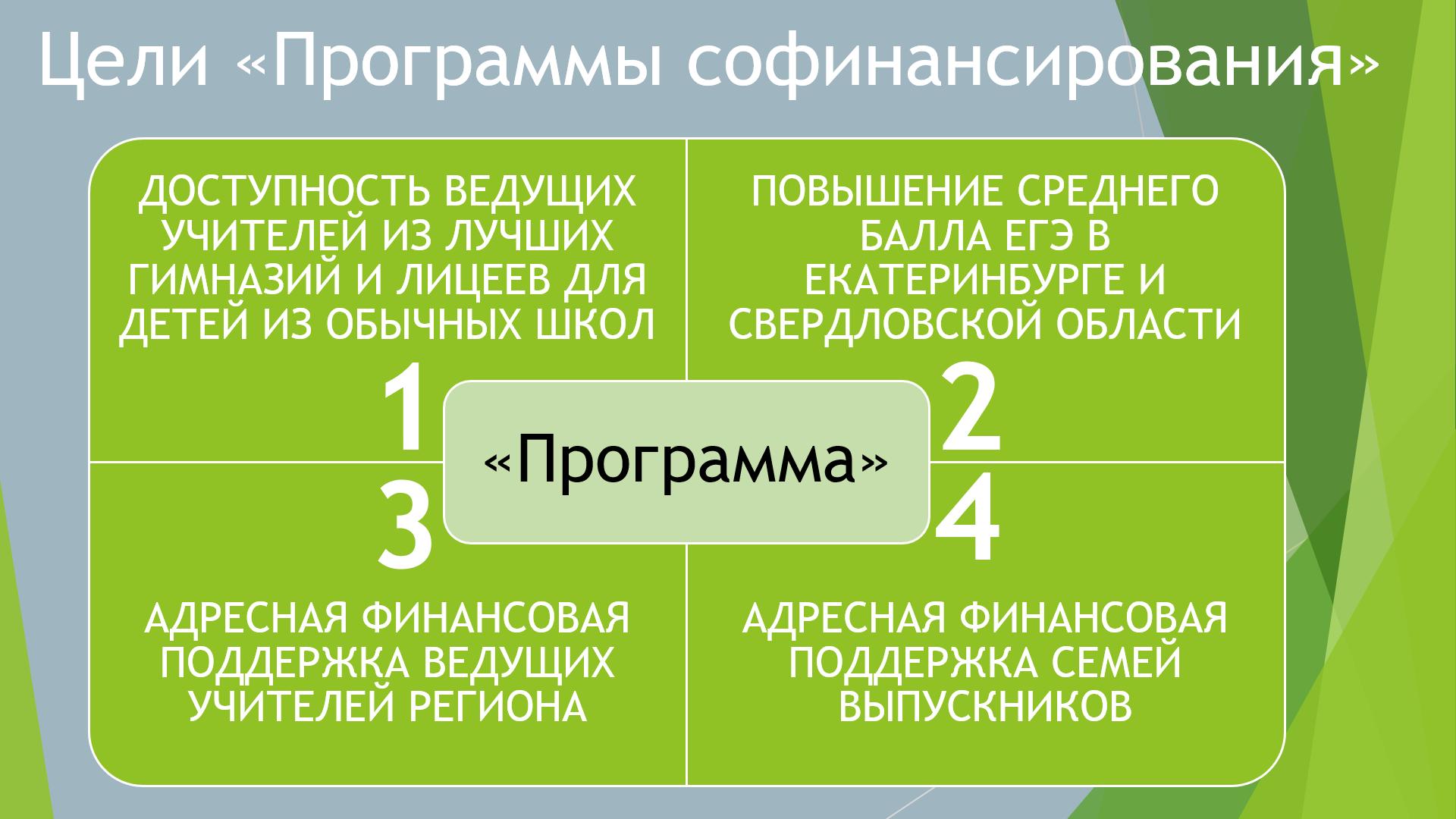 Цели «Программы софинансирования довузовской подготовки выпускников города Екатеринбурга»